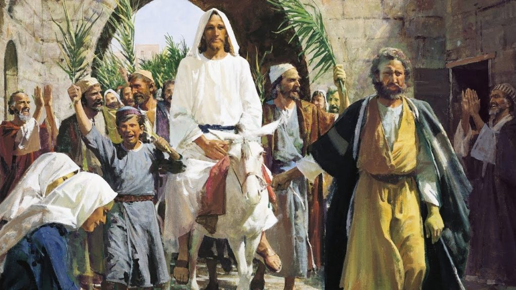 Jésus arrive à Jérusalem sur un ânon